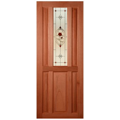 MAZTERDOOR ประตูไม้สยาแดง ลูกฟักพร้อมกระจก ขนาด 80x210cm.  SS01/3