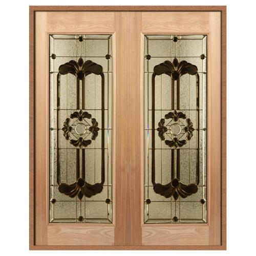 MAZTERDOOR ประตูไม้สยาแดง บานเรีบบพร้อมกระจก 80x200cm. (บานเดี่ยว) ทำสีธรรมชาติ  SET 1 LOTUS-06