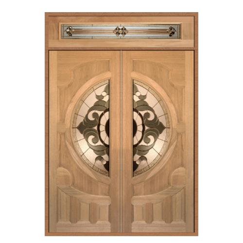 MAZTERDOOR ประตูกระจกไม้สยาแดง แกะลายหงษ์+มังกร พร้อมกระจก SET 2ขนาด 160X240cm.   VANDA-01