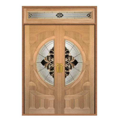 MAZTERDOOR ประตูไม้สยาแดง ลูกฟักพร้อมกระจก SET 2 ขนาด 160X240cm. ทำสีโอ้ค  VANDA-05