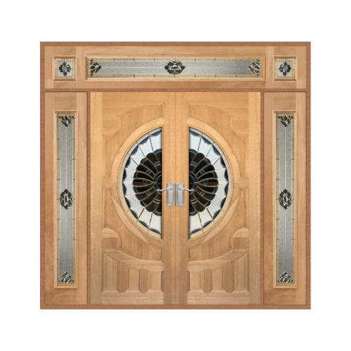 MAZTERDOOR ประตูไม้สยาแดง แกะลายหงษ์+มังกรพร้อมกระจก SET 4 ขนาด 326X268cm.  VANDA-09