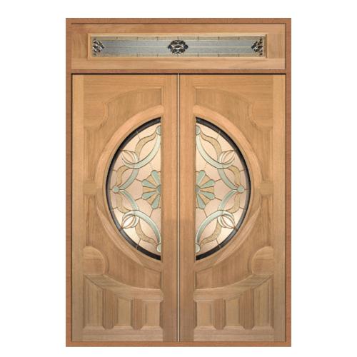 MAZTERDOOR ประตูไม้สยาแดง ลูกฟักพร้อมกระจก SET 2 ขนาด160x240cm. ทำสีโอ๊ค VANDA-05