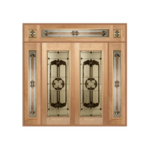MAZTERDOOR ประตูไม้สยาแดง บานเรียบพร้อมกระจกเพ้นท์ลาย SET 4  ขนาด 256X268cm.  LOTUS-06