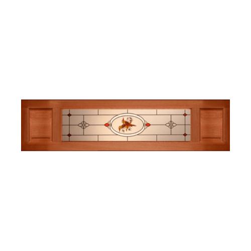 MAZTERDOOR ประตูกระจกไม้สยาแดง  ลูกฟักพร้อมกระจกเพ้นท์ลาย ขนาด 40x200cm.  SS02 upper-side