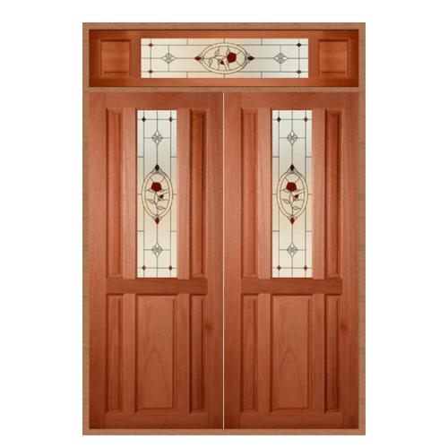 MAZTERDOOR ประตูไม้เนื้อแข็ง ลูกฟักพร้อมกระจก (ชุด) 160x240cm.  SS-01/3