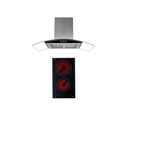 AXIA  ชุดเช็ทเครื่องดูดควันแบบกระโจม  + เตาไฟฟ้าเซรามิก HERO BLACK 90+ A30-050 GL  สีดำ