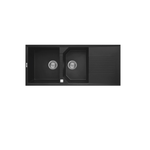 AXIA อ่างล้างจานแกรนิต 2 หลุมมีที่พัก ICONIC11650 สีดำ