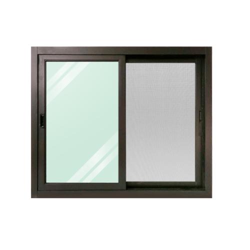 WELLINGTAN หน้าต่างอลูมิเนียม  บานเลื่อนสลับพร้อมมุ้ง ขนาด 1200x1000mm BGW1210-2P  สีดำ