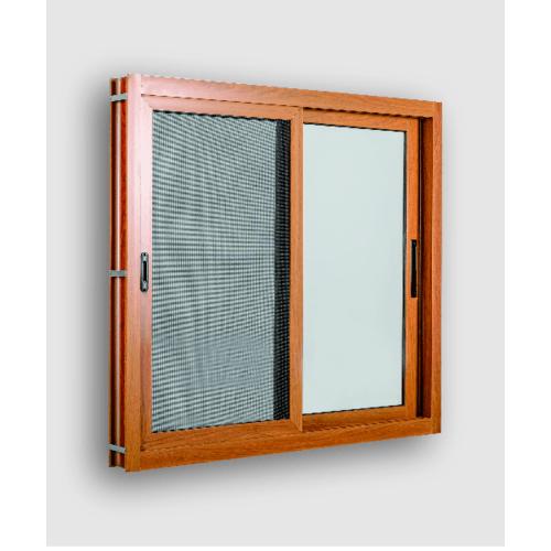 Wellingtan หน้าต่างอะลูมิเนียม บานเลื่อน ขนาด 120cm.x100cm. พร้อมมุ้งลวดนิรภัย SS TK1211SS-2P สีน้ำตาล