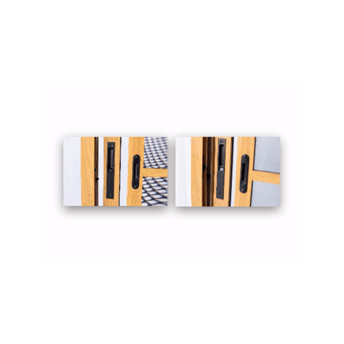 Wellingtan ประตูอะลูมิเนียม บานเลื่อน  200cm.x205cm. สีไม้สัก พร้อมมุ้งลวดนิรภัย SS TK2020SS-2P  สีน้ำตาลเข้ม