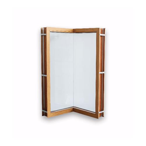 Wellingtan หน้าต่างช่องแสงเข้ามุมอลูมิเนียม ขนาด 50x50x100cm. TKCW050510 สีไม้สัก