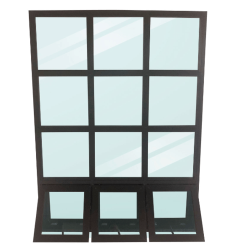 Wellingtan หน้าต่างโถงบันไดอลูมิเนียม ขนาด 149x200cm. BFAW149200 สีดำ