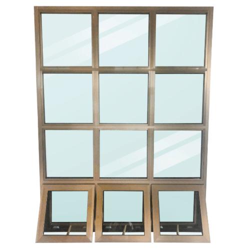 Wellingtan หน้าต่างโถงบันไดอลูมิเนียม ขนาด 149x200cm. CFAW149200 สีแชมเปญ