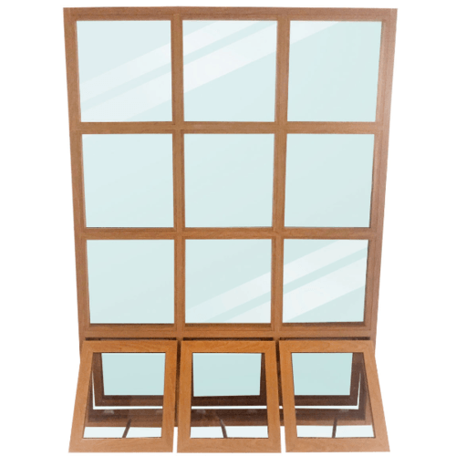 Wellingtan หน้าต่างโถงบันไดอลูมิเนียม ขนาด 149x200cm. TKFAW149200 สีไม้สัก
