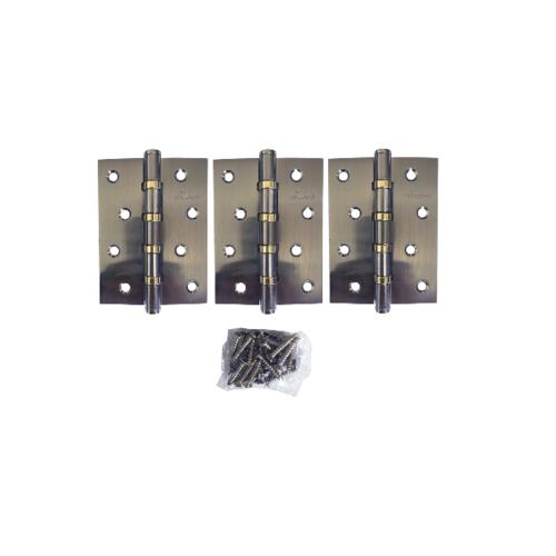 BIGROW บานพับ  4x3x2-4BB SN แกนเล็ก หัวตัด แพ็ค 3 สีโครเมี่ยม