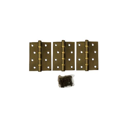 BIGROW บานพับ 4x3x2-4BB AB  แกนเล็ก หัวตัด แพ็ค 3 สีทอง