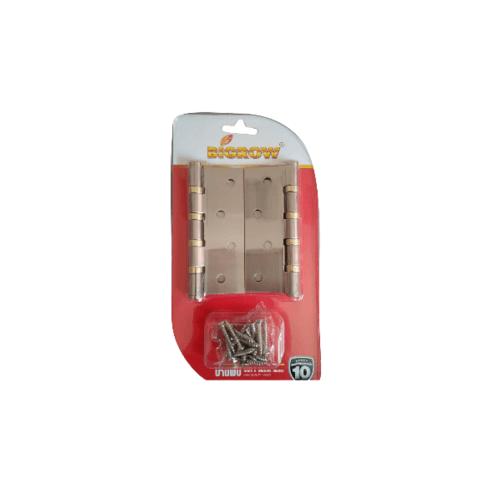 BIGROW บานพับ 4x3x2  4BB SN  แกนเล็ก หัวตัด แพ็ค 2 สีทอง