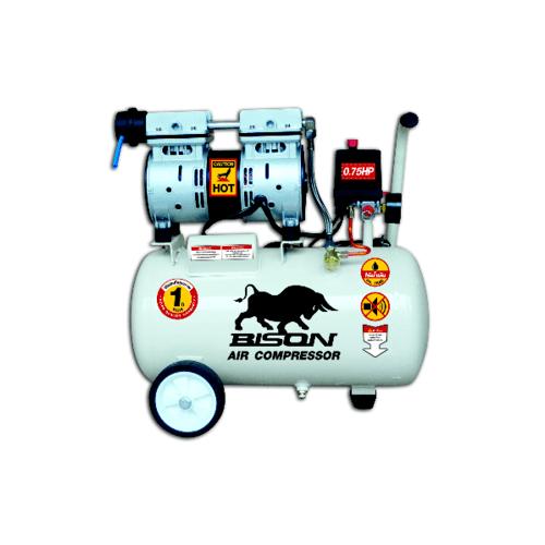 BISON ปั้มลมขับตรง ไร้น้ำมัน 0.75 HP 24 ลิตร 550-24  สีขาว
