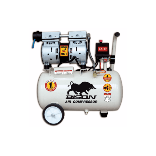 BISON ปั้มลมขับตรง ไร้น้ำมัน 1.5 HP 50 ลิตร 2X550-50 ขาว