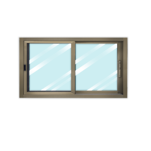 Wellingtan หน้าต่างอลูมิเนียม บานเลื่อน ขนาด 180cm.x100cm. สีแชมเปญ พร้อมมุ้ง SS CGW1810-2P