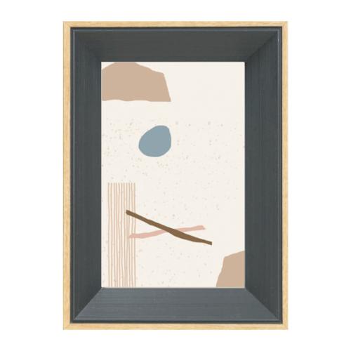 COZY กรอบรูป ขนาด 6x8นิ้ว โมเดิร์น สีDark grey with wooden edge  ไม้ธรรมชาติ