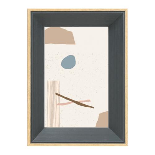 COZY กรอบรูป ขนาด A4  โมเดิร์น สีDark grey with wooden edge