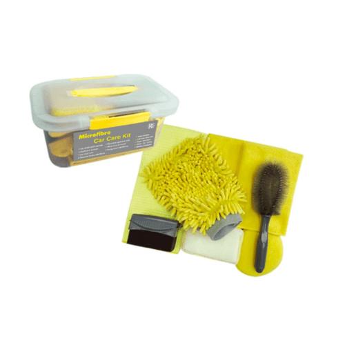 ICLEAN ชุดทำความสะอาดรถยนต์ 9 ชิ้น RS08-210S  สีเหลือง