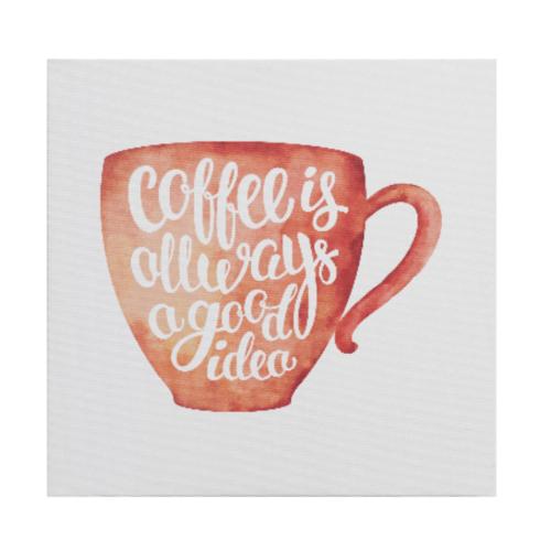 NICE รูปภาพพิมพ์ผ้าใบ Coffee Shop 40x40ซม. (ก.xส.) (ถ้วยกาแฟสีส้ม) C4040-3