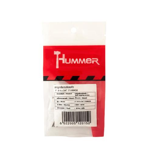 HUMMER สกรูเกลียวปล่อยหัว 4x3/4นิ้ว (25ตัว/แพ็ค) F-HM434  สีโครเมี่ยม