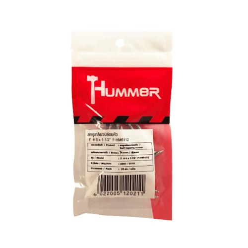 HUMMER สกรูเกลียวปล่อยหัว 6x1-1/2นิ้ว(25ตัว/แพ็ค)  F-HM6112 สีโครเมี่ยม