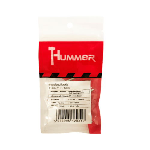 HUMMER สกรูเกลียวปล่อยหัว 8x1นิ้ว (25ตัว/แพ็ค) F-HM810 สีโครเมี่ยม