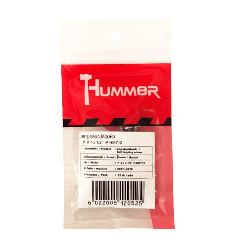 HUMMER สกรูเกลียวปล่อยหัว 7X1/2นิ้ว (25ตัว/แพ็ค)  P-HM712 สีโครเมี่ยม