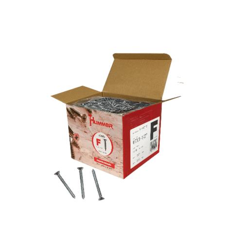 HUMMER สกรูเกลียวปล่อยหัว 7x1-1/2นิ้ว (1000ตัว/กล่อง) F-HM7112  สีโครเมี่ยม