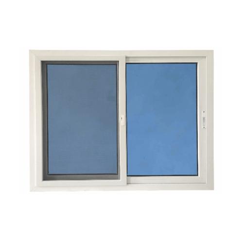 Wellingtan หน้าต่างไวนิล บานเลื่อน SS 150x110cm. (กxส)  กระจกสีฟ้าสะท้อนแสง  RBW002 สีขาว