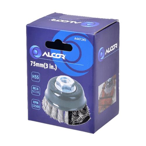 "ALCOR แปรงลวดเหล็กรูปถ้วยแบบถักเปีย 75MM. (3"") A447245"