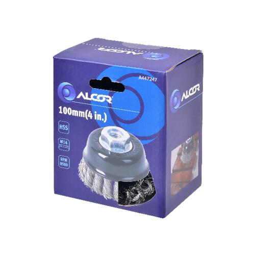 """ALCOR แปรงลวดเหล็กรูปถ้วยแบบถักเปีย 100MM. (4"""") A447247 สีดำ"""