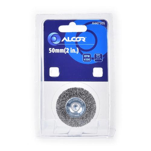 """ALCOR แปรงลวดเหล็กกลมมีแกน 50MM. (2"""")  A447305  สีโครเมี่ยม"""