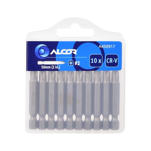 "ALCOR ชุดดอกไขควง 2"" PH2 CR-V (10 ชิ้น) A450917 สีโครเมี่ยม"