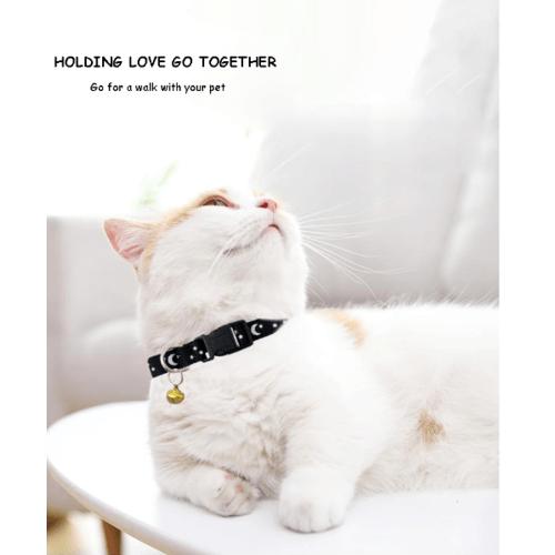 DUDUPETS ปลอกคอแมวปรับได้ มีกระดิ่ง ขนาด 1.2x19x0.2ซม.   PT023  สีดำ