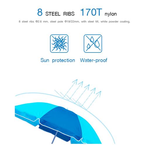 SUMMER SET ร่มชายหาด Estampado  ขนาด 160×160×160ซม.  JM16B สีฟ้า