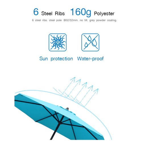 SUMMER SET  ร่มสนาม Ronda ขนาด 230×230×220 ซม.  JM33B สีฟ้า