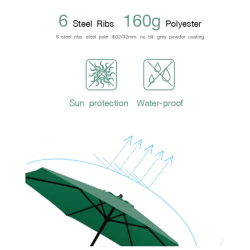 SUMMER SET ร่มสนามกลม Ronda ขนาด 230×230×220 ซม. สีเขียวเข้ม JM33G