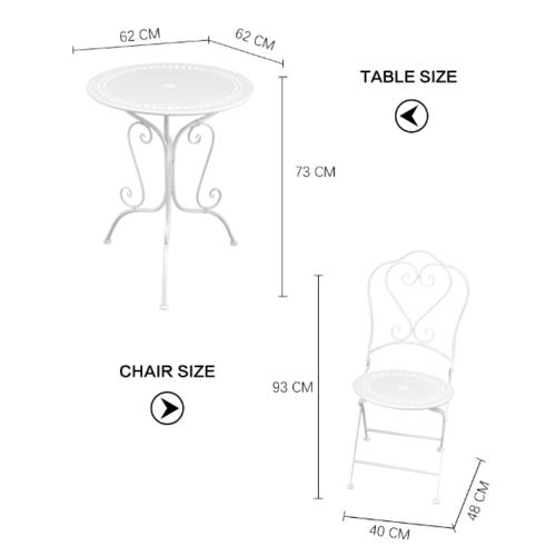 SUMMER SET ชุดโต๊ะสนาม  2 ที่นั่งTIMOTHY ขนาด 62×62×73ซม.  TY001 สีเบจ