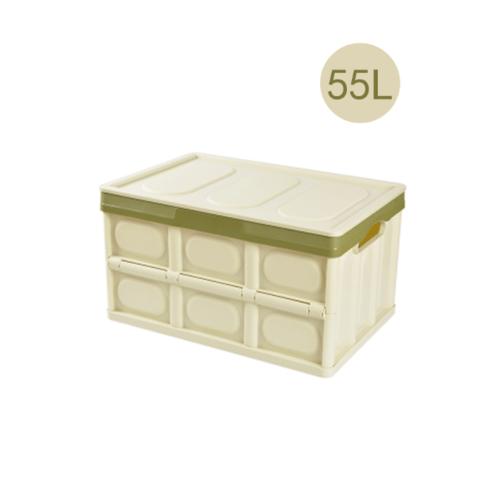 GOME กล่องเก็บของพับเก็บได้ พร้อมฝาปิด 55 ลิตร ขนาด 35x53x29 ซม. TZ06 สีเขียว