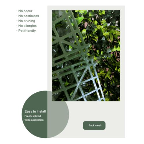 Tree O ต้นไม้เทียมติดผนัง ขนาด 50×50×3 ซม.  MZ188026A สีเขียว