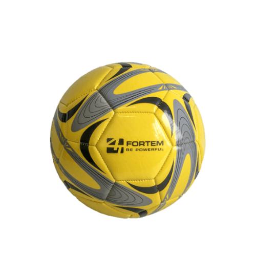4TEM ลูกฟุตบอลหนังเย็บ PVC เบอร์ 4 ขนาด  Φ20 ซม.  GY-019 สีเหลือง-เทา แถมเข็มก๊าซ