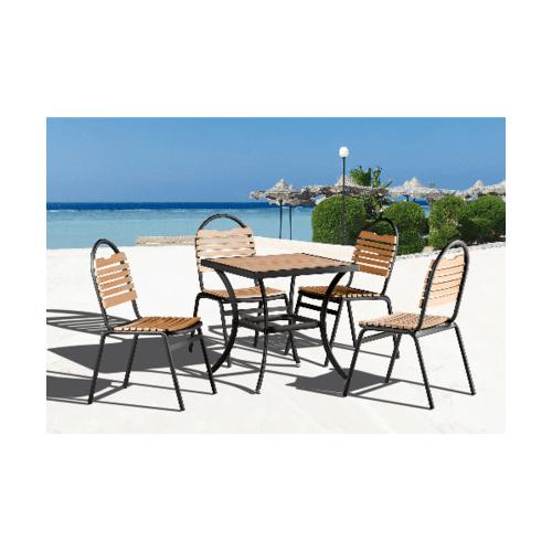 Delicato โต๊ะสนาม 4 ที่นั่ง ขนาด 70×70×73 ซม.  HB07 สีไม้