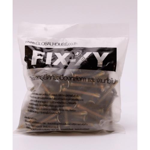 FIX-XY สกรูยึดกระเบื้อง ปลายสว่าน   # 8 ยาว 2.00 นิ้ว (50 มม.)  สีทอง