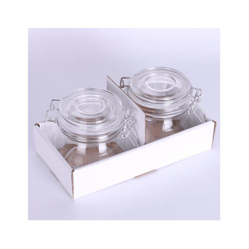 UCHI โถแก้วมีฝาปิด 2 ชิ้น/ชุด ขนาด 11x11x10.5 ซม. OJD-005