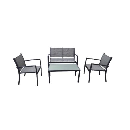 Tree O ชุดโต๊ะสนามขาเหล็ก 4 ชิ้น JYZ3001F-GY สีเทา